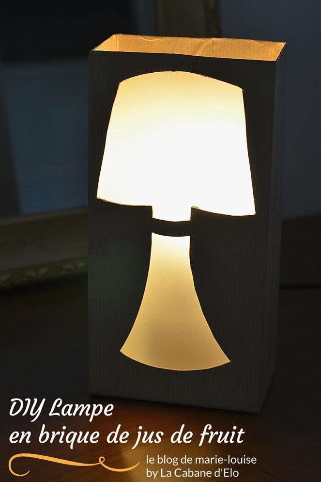 DIY Lampe en brique de jus de fruit le blog de marie-louise
