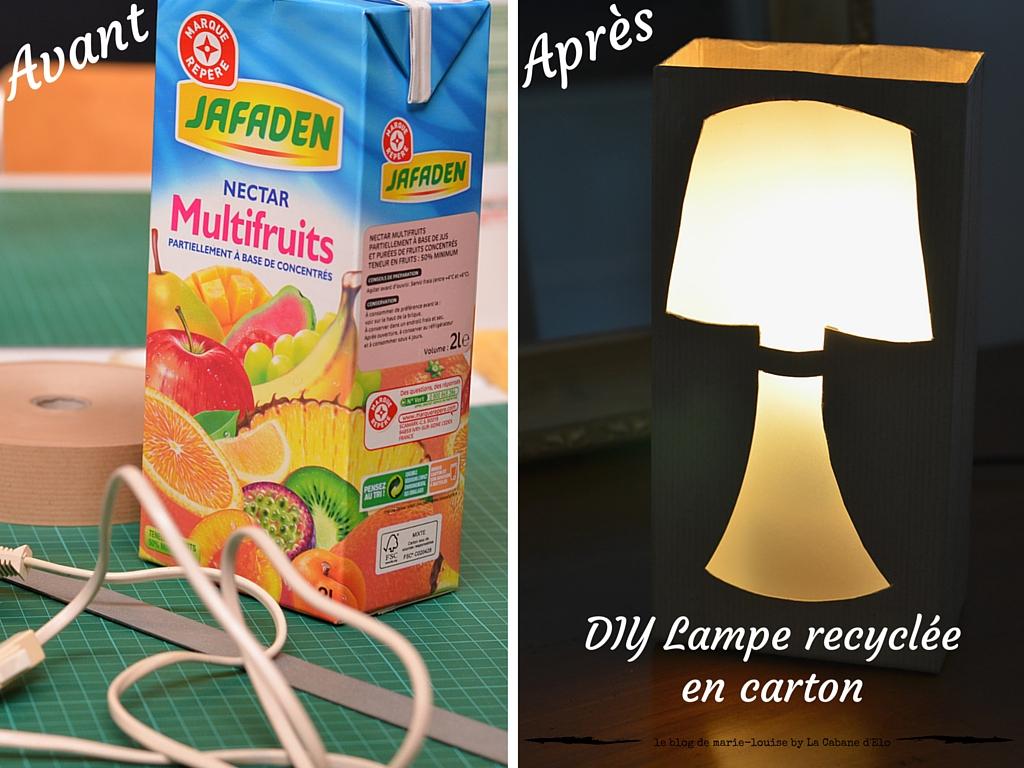 diy lampe recycl e en brique de jus de fruit le blog de marie louise. Black Bedroom Furniture Sets. Home Design Ideas