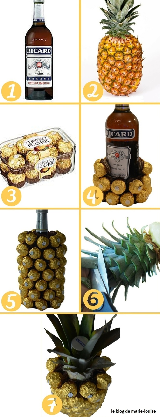 DIY Bouteille en forme d'ananas enrobée de chocolat par le blog de marie-louise